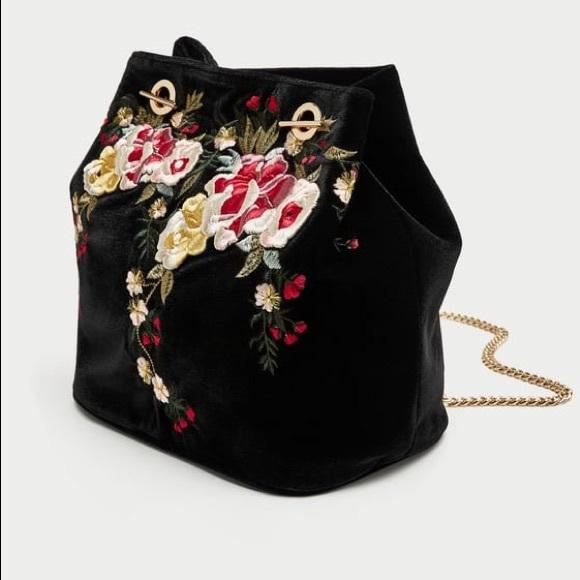 854259fa99 Zara Velvet Embroidered Floral Bag